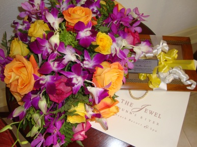 The floral arrangements from the wedding delivered to the room so you can enjoy them longer!